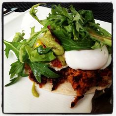 Yummy Pulled Pork Hash with chipotle, avocado creme from Queequeg's In Nantucket via @ChefNetworkInc