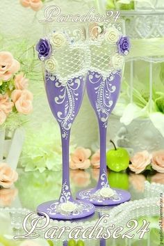 """Купить Свадебные бокалы """"Сердце на двоих"""" - сиреневый, свадебные аксессуары, свадебное украшение, свадебные украшения"""