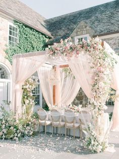 The Perfect Recipe for a Local Wedding with That Unbeatable European Feel - Blush wedding reception with billowing silky drapery, floating chandeliers, and lush florals in hues of pink with bleached pampas grass and cascading orchids for dimension. Blush Wedding Reception, Romantic Wedding Receptions, Pink Wedding Theme, Wedding Seating, Romantic Weddings, Wedding Table, Floral Wedding, Wedding Colors, Wedding Day