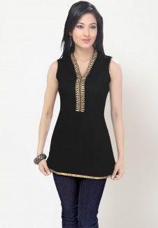 Sleeve Less Solid Black Kurti