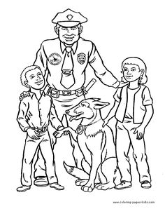 Happy Police officer color page Police color page, family people jobs coloring pages, color plate, coloring sheet,printable coloring picture...