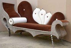 Unusual sofa/love seat.  By Francois Troubat