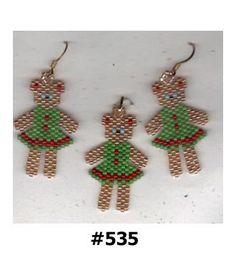 Ohrhänger Anhänger Set Glas Seed Beads Brick Stitch Christmas Tree Kranz Girl Lady Bären Sternen Taube Vogel Urlaub Saison Schmuck Geschenk