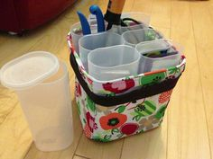 Crystal light containers in a little carry all.
