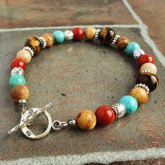Bracelet for Men, Turquoise, Red Jasper, Tiger Eye, Jasper, Southwestern…