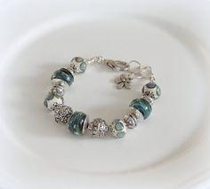 Blue OOAK Artisan  lampwork bracelet Art glass, Beaded bracelet Lampwork glass beads, one of a kind handmade lampwork