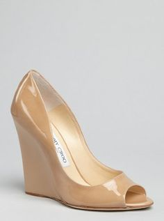'Biel' | Jimmy Choo - nude patent leather peep toe wedge pump