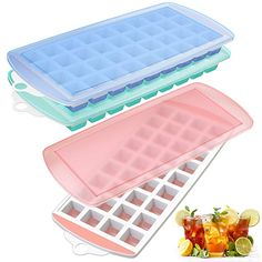 Ice Cube Trays, 3 Pack Food Grade Flexible Stackable Silicone Ice Cube Trays with No-spill Removable Lids, Easy Release Ice Tray Make 108 Ice Cube Ice Cube Trays, Ice Tray, Junior Year, Skateboard Decks, Meatball, Food Grade, Lockers, Flexibility, Locker Storage
