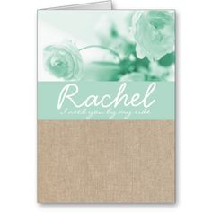 Shabby Chic Mint Peony Burlap Bridesmaid Request Greeting Cards