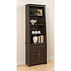 Espresso Tall Slant-Back Bookcase with 2 Shaker Doors