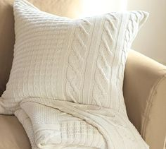 Sweater-Knit Pillow... Paired with the brown and turquoise pillow? Thoughts anyone?