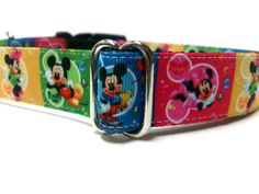 Mickey and Minnie Mouse Dog Collar Colorful 1 by ELMEDO on Etsy, $15.00