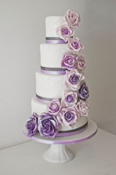 Purple Rose Ombre Cake www.edible-art-cakes.co.za