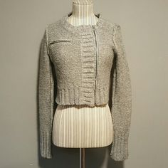 Gray off centered zipper cropped length Great layering piece and staple piece for any closet. Size M  70% acrylic and 30% wool gorgeous fun piece. Gently used. No major signs of wear. Please ask any questions, view all photos and use the offer option. Sweaters Cardigans