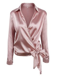 SheIn offers Satin Knotted Hem Surplice Blouse & more to fit your fashionable needs. Blouse Sexy, Wrap Blouse, Bow Blouse, Collar Blouse, Red Long Sleeve Shirt, Long Sleeve Tops, Red Shirt, Long Tops, Pink Satin Blouse
