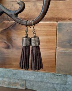 Brown leather tassel earrings - brass metal capped tassel earrings - leather tassel jewelry - brown boho dangling tassel earrings