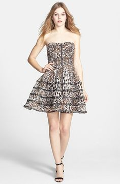 Betsey Johnson Print Mesh Fit & Flare Dress available at #Nordstrom