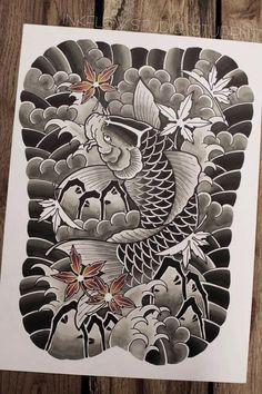 Japanese Back Tattoo, Japanese Tattoo Designs, Japanese Sleeve, Forarm Tattoos, Irezumi Tattoos, Body Art Tattoos, Koi Tattoo Sleeve, Koi Fish Tattoo, Shadow Tattoo