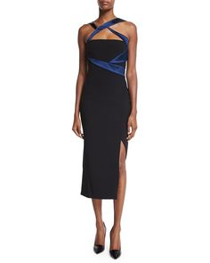 Sleeveless Two-Tone Sheath Dress, Nero/Blu
