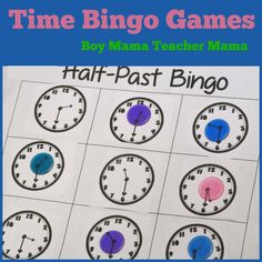 Time Bingo Games - Time to teach students about telling time. Students can play several O'Clock Card Games in partners and as a group using Coordinate Boards to Play Memory. And today we created our own bingo boards to practice telling time.