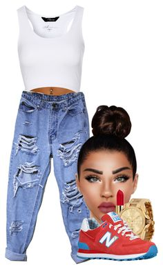 A fashion look from October 2015 featuring white shirt, ripped boyfriend jeans and new balance shoes. Browse and shop related looks. Boyfriend Jeans Outfit, Jane Norman, Jean Outfits, Baddie, New Balance, What To Wear, Ootd, Michael Kors, Shoe Bag