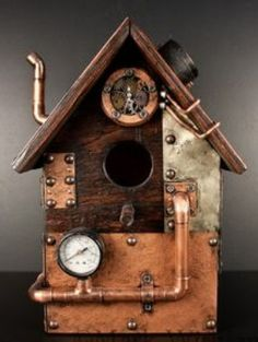 Steampunk birdhouse, would be cool to look up in a tree and see a bird hanging out on this cool looking birdhouse. Bird House Plans, Bird House Kits, Bird Houses Diy, Fairy Houses, Wood Projects, Woodworking Projects, Steampunk, Birdhouse Designs, Birdhouse Ideas