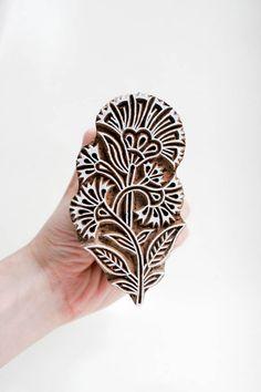 Hmm... Thinking on hand stamp fabrics? | Wood Stamp Flower TATAindianwoodstamps