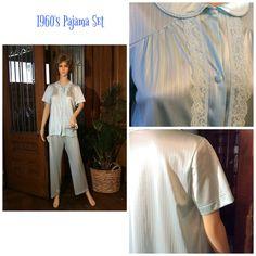 Vintage Pajama Set Light Blue Short Sleeve with Pants Circa 1960 Size Medium by MaddyJamesLingerie on Etsy