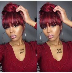 20 bun hairstyles with bangs Hairstyles With Bangs, Weave Hairstyles, Pretty Hairstyles, Girl Hairstyles, Weave Ponytails With Bangs, Updos Hairstyle, Love Hair, Gorgeous Hair, Curly Hair Styles