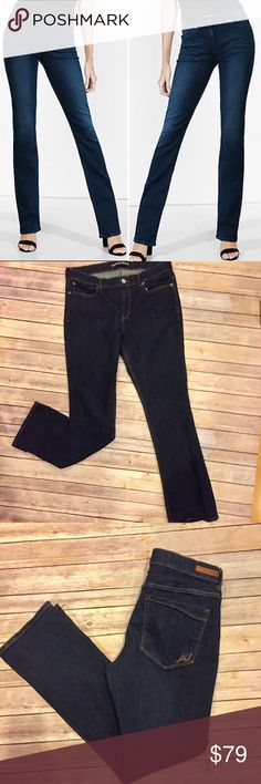 Express Barely Boot Mia Mid Rise Jeans Size 14 Express Barely Boot Mia Mid Rise Jeans. Dark wash. Condition: EUC/ like new. Fabric: 98% Cotton, 2% Spandex.  Size 14; measurements for waist laying flat and inseam are pictured. Note: these are mid rise Jeans so will sit around the waist area. Very flattering Jeans! No trades. Any offers must go through the blue offer button, not in comments. (cover photo express website, actual item pictured) Express Jeans Boot Cut