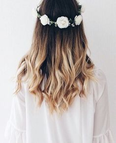 ombre + loose curls + flower crown