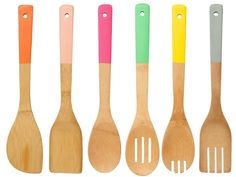 Ban bland from your kitchen utensil drawer with these sleek bamboo utensils with dipped colorful handles. Durable, hardworking bamboo gets a fresh look with th Cooking Utensils, Cooking Tools, Cooking Spatula, Chandeliers, Dip, Kitchen Utensil Set, Kitchen Dining, Kitchen Decor, Cookware Set