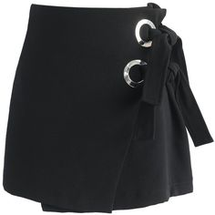 Chicwish The Ace of Fad Flap Bud Skirt in Black found on Polyvore featuring polyvore, women's fashion, clothing, skirts, mini skirts, black, silver mini skirt, knot skirt, chicwish skirt and short mini skirts