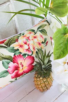 Love this color combo for beachy tropical home decor...the print too.