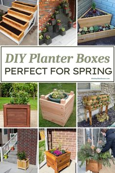 Are you looking for gorgeous creative DIY Planter Box ideas to make this spring? Here are 11 seriously easy DIY Planter Box Ideas that are a perfect way to spruce up your outdoor space and plant a variety of flowers or vegetables. Pallet Planter Box, Cedar Planter Box, Vertical Planter, Wooden Planters, Diy Planters, Square Planter Boxes, Planting Vegetables, Planting Flowers, Easy Diy