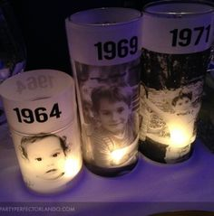 I love these photo candles made by Laura. They would be great for a 40th birthday party.: