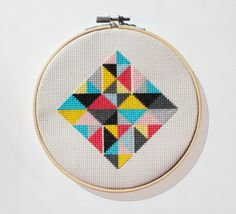 Geometric Diamond Pattern- Modern cross stitch - Instant download PDF