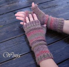 Arm warmers knitted mittens knit fingerless gloves by OnGoodLuck