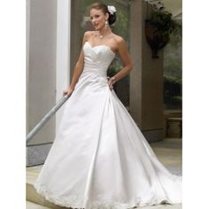 2011 Empire Waist Sweetheart neck Embroidered Beaded Satin A-Line Wedding Dresses