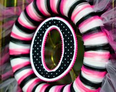 tulle wreath - pink and zebra theme