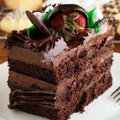 This fudge layer cake recipe is so rich and moist. Fudge Layer Cake Recipe from Grandmothers Kitchen. Köstliche Desserts, Chocolate Desserts, Delicious Desserts, Dessert Recipes, Chocolate Chocolate, Chocolate Covered, Food Cakes, Cupcake Cakes, Cake Icing