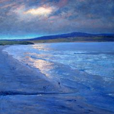 Andrew Barrowman 'A break in the clouds' Oil on ply - Gwithian Towans in Cornwall, UK