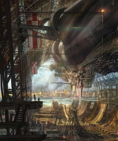 The great airship makes ready to set sail. Illustration by Joseph Kim, http://www.josephkimart.com/#!/c33i
