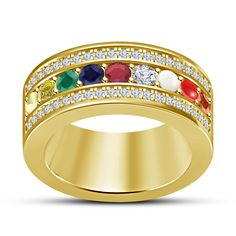 All Size Multi-Gemstone 14K Yellow Gold PL Round Multi-Color Navratna Band Ring…