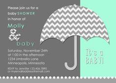 Personalized Digital Print Ready 5x7 Baby Shower Invitation Umbrella Chevron Aqua Coral Navy Yellow Gray Mint Hot Pink Avocado Blue Green