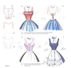 "1 a, b Leibchen mit Brustzwickel, Wechselgebiet, Kilb-Mank, Wallsee 2 a, b ""Herzerl-Leibl"", Thayatal, Poysbrunn, Erderg-Znaim 3 a, b Schnürmieder-leibchen, Mistelbach und Umgebung 4 Zacken- ""Zurkerl""- Dirndl, Gallbrunn, Stixneusiedl Folk Costume, Costumes, Barbie Und Ken, European Dress, German Fashion, Dress Sewing Patterns, History Books, Sewing Clothes, Traditional Dresses"