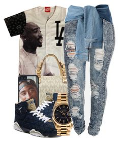 """""""Untitled #1179"""" by ayline-somindless4rayray ❤ liked on Polyvore featuring Michael Kors, Rolex and DKNY"""