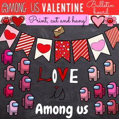 Want an adorable and creative bulletin board for Valentines day? Use these adorable Among us clipart. This set is perfect for this holiday. Get yours now.