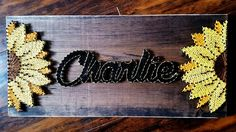 String Art- Name, colour, stained wood, nails, flowers Made By: Jennifer MacLeod Schutt String Art Names, String Wall Art, Nail String Art, String Crafts, Resin Crafts, String Art Templates, String Art Patterns, Cute Crafts, Crafts To Make