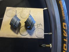 Recycled Bicycle bike Tube Earrings by maybirdjewelry on Etsy, $16.00